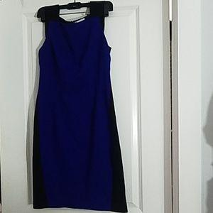 Color block navy black sleeveless dress